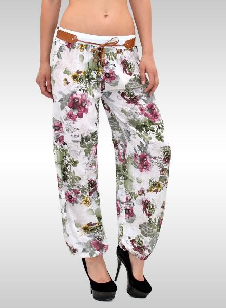 Damen Pumphose Sommerhose mit Blumenmuster