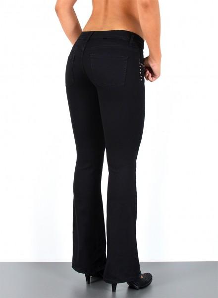 damen schwarze bootcut jeans hosen - günstige schlaghosen