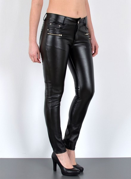 Damen Wet Look Kunstlederhose mit Zipper