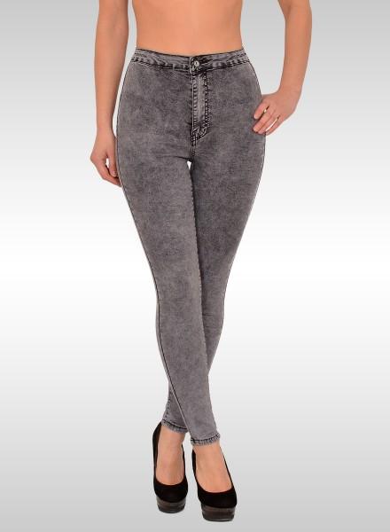 ESRA Damen High Waist Skinny Jeans grau