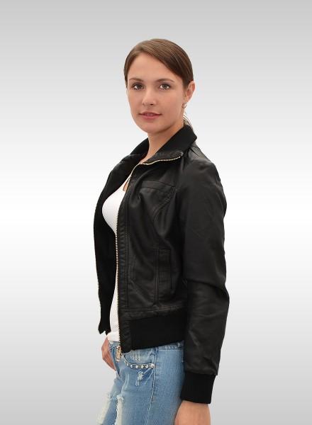 Damen Jacke Kunstleiderjacke bis Übergröße