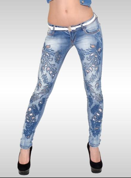 Damen Skinny Jeans mit Strass und Spitze