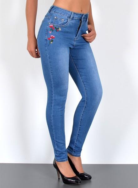 Damen Skinny Jeans mit Blumenstickerei große Größen