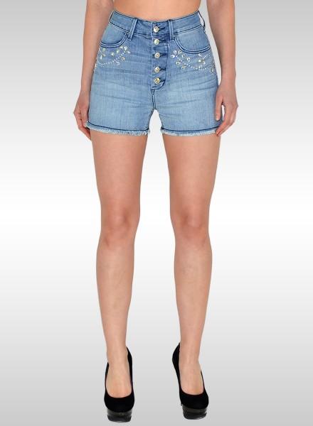 Damen High Waist Jeans Shorts mit Strass