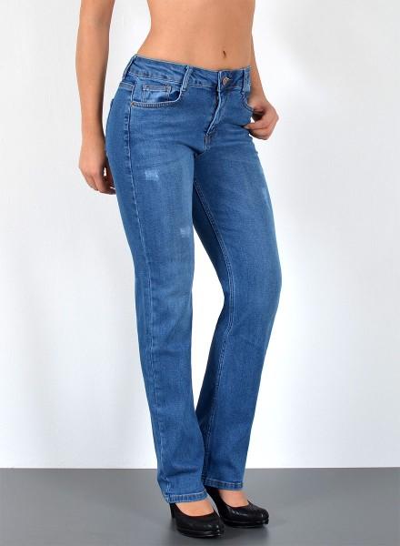 ESRA Damen Jeans hoher Bund mit leichten Rissen bis Übergröße
