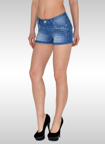Damen Jeans Shorts mit Muster