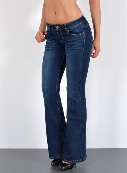 ESRA Damen Bootcut Jeans Used Look