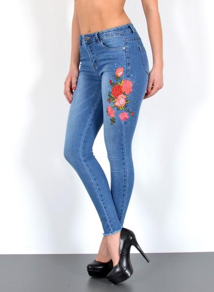 Damen Skinny Jeans mit Blumenstickerei