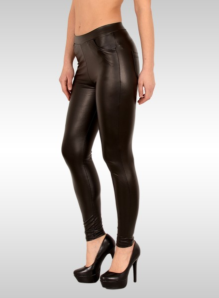 Damen Lederlook Leggings mit Tasche