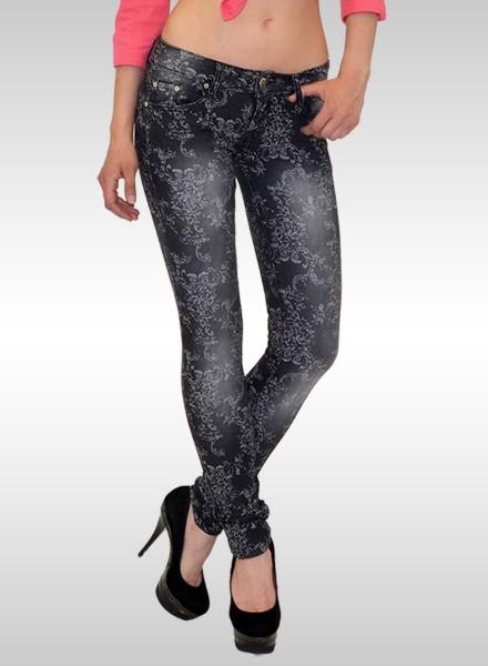 Damen Skinny Jeans mit Muster schwarz