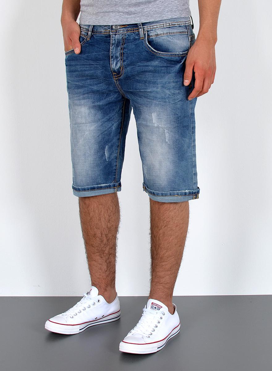 Herren Jeans Shorts kurze Bermuda Shorts Used Look kurze