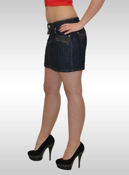 Damen Mini Jeansrock mit Glitzer