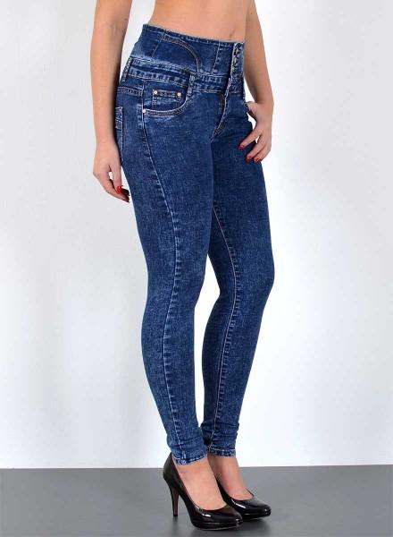 ESRA Damen Hochbund Skinny Jeans Hose batik Look