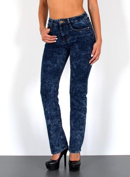 ESRA Damen Hochbund Jeans dunkelblau-batik Optik