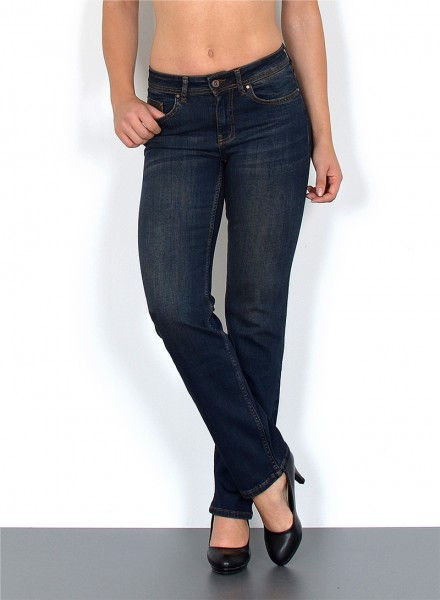 ESRA Damen Jeans Straight Fit High Waist Hose