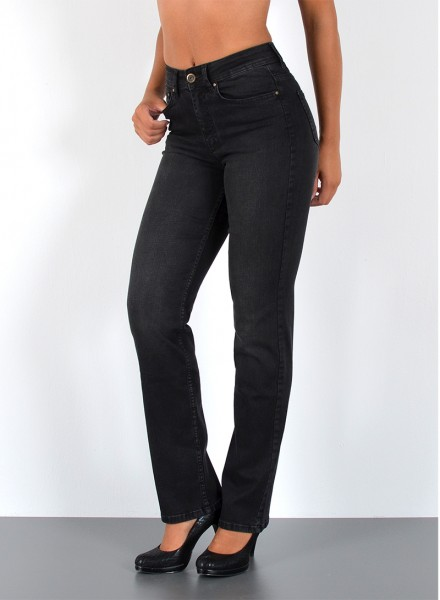 ESRA Damen Straight Jeans Black