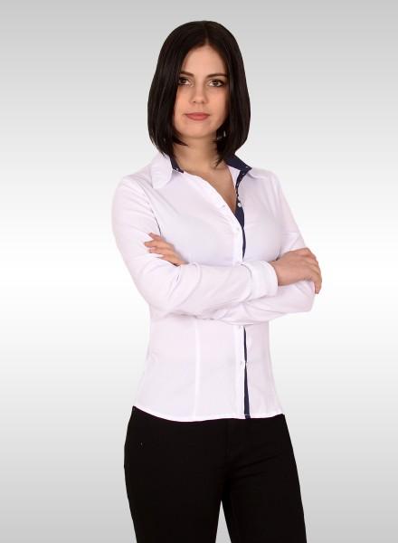 Damen Popeline Bluse mit Nadelstreifen