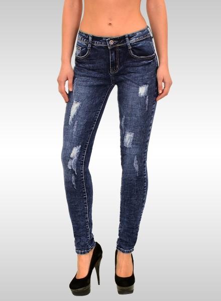 ESRA Damen Skinny Jeans Destroyed Look große Größen