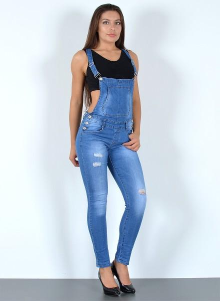 Damen Jeans Latzhose Skinny mit Risse