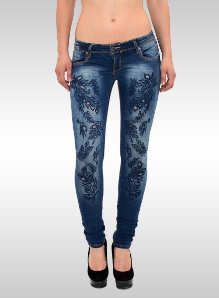 Damen Skinny Jeans mit Stickerei