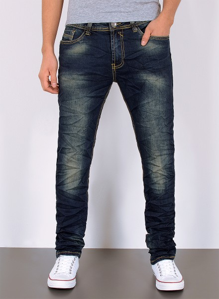 Herren Jeans Used Look Knitteroptik Slim Fit