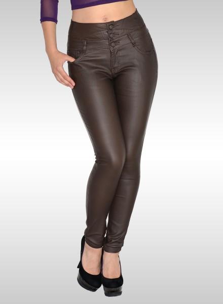 Damen Hochbund Skinny Lederhose