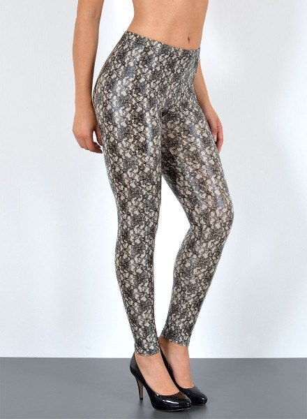 Damen Wetlook Blumen Optik Leggings
