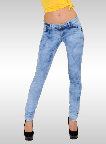 Damen Skinny Jeans Acid Look