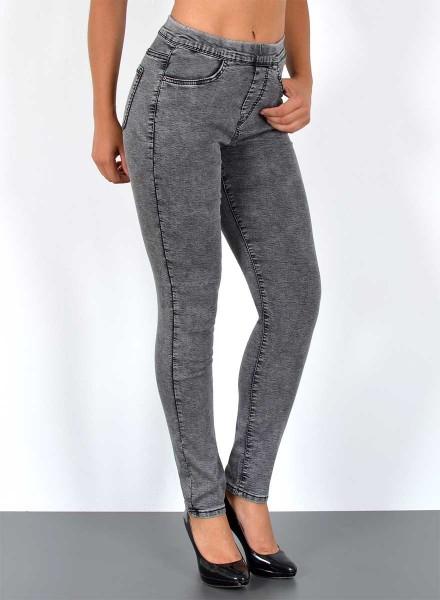 ESRA Damen Skinny Jeans mit Gummibund große Größen