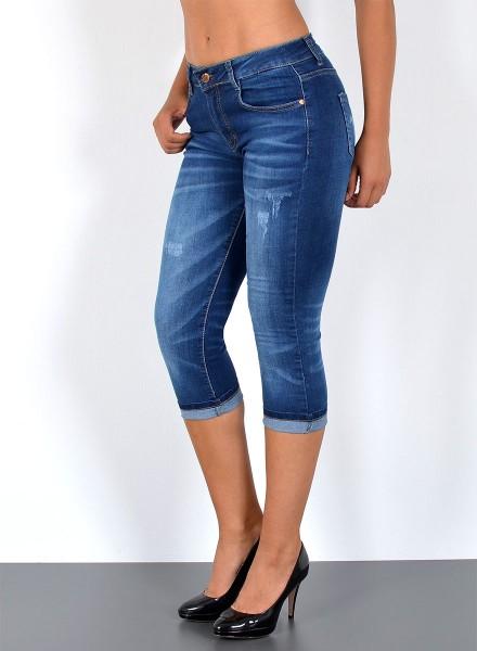 ESRA Damen Capri Jeans Hose mit Risse bis Übergröße