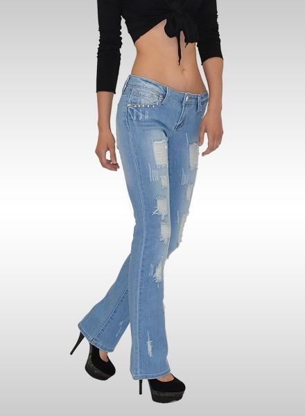 damen schlaghose jeans g nstige bootcut jeans ab gr e 32 bis 44 modische destroyed look jeans. Black Bedroom Furniture Sets. Home Design Ideas