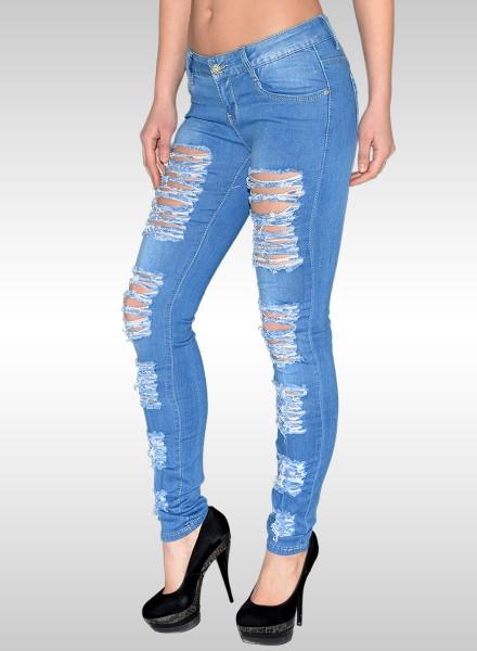Damen Skinny Jeans Destroyed Look