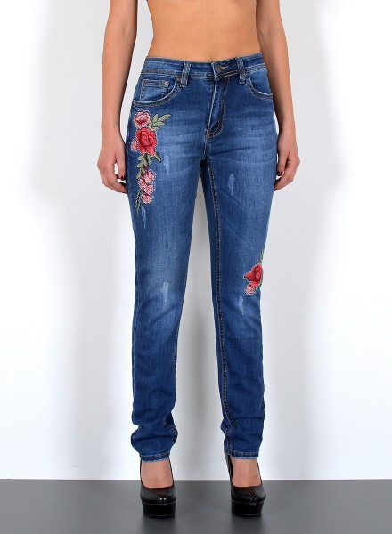 Damen Slim Fit Jeans Skinny mit Blumen Stickerei Plus Size