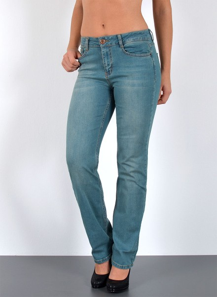 ESRA Damen Straight Fit Jeans hoher Bund große Größen