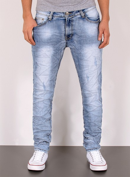 Herren Jeans Knitteroptik Destroyed Look Slim Fit