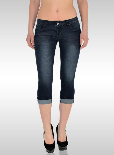 ESRA Damen Capri Jeans Hose bis Übergröße