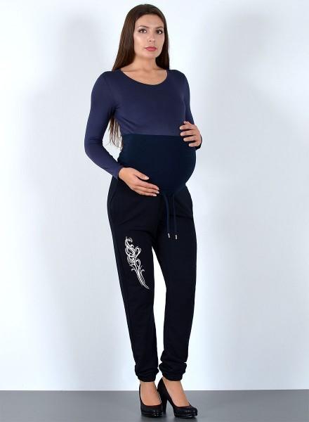 Damen Umstandshose für Schwangere Sporthose mit Muster