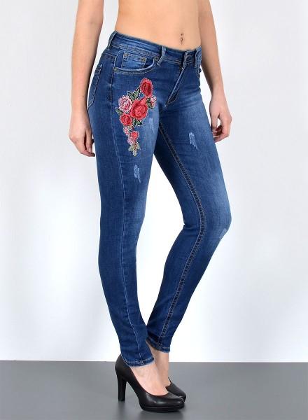 Damen Jeans Skinny mit Blumen Stickerei