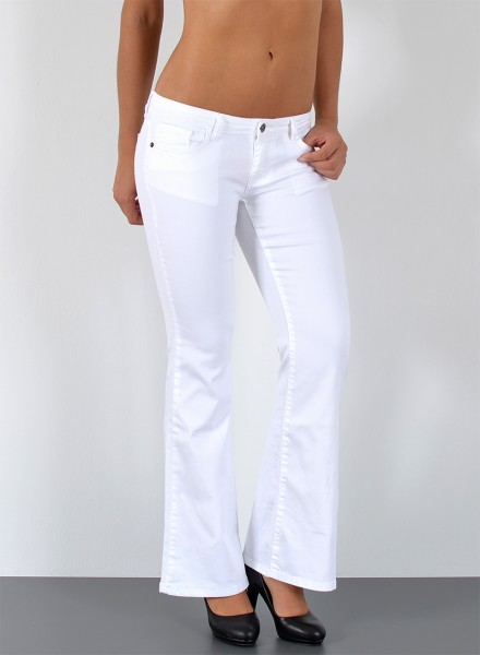 ESRA Damen Bootcut Jeans weiß