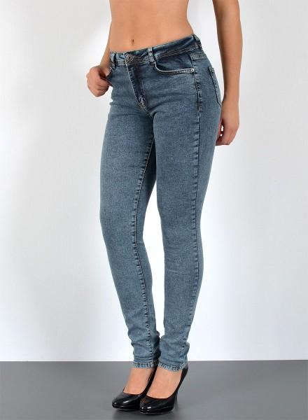 ESRA Damen Jeans Skinny Hose bis Übergröße