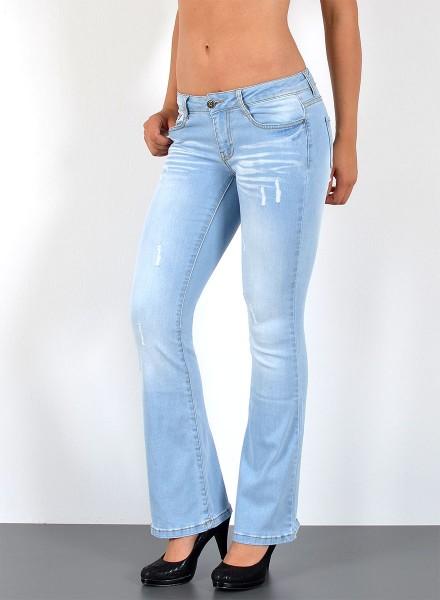 Damen Jeans Schlaghose mit Risse bis Übergröße