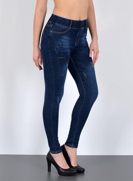 Damen Slim Fit Jeanshose mit Gummibund bis Übergröße