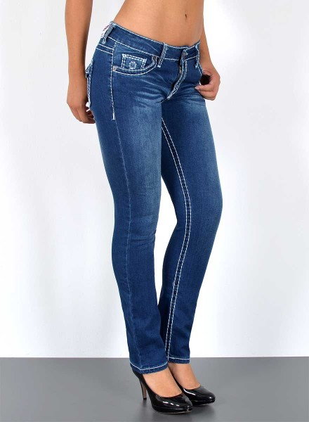 ESRA Damen Straight Fit Jeans mit dicker Naht