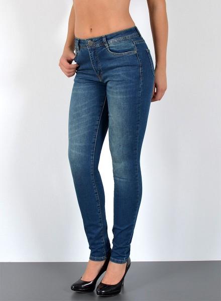 ESRA Damen Skinny Jeans Stonewashed große Größen