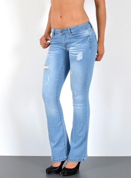 Damen Jeans Schlaghose mit Risse hellblau