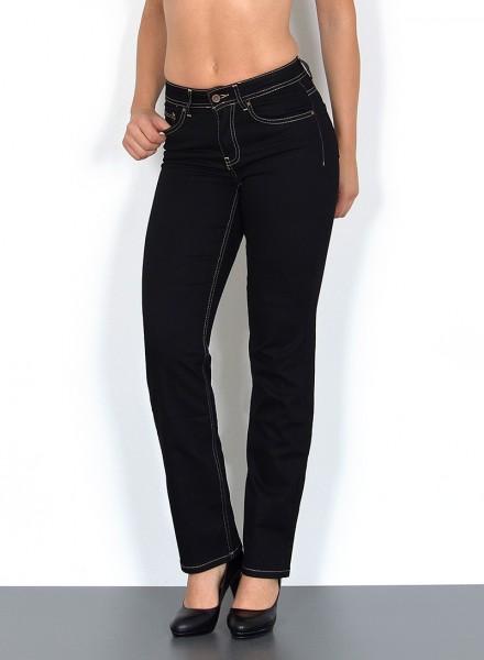 ESRA Damen gerade Jeans Hochbund mit Naht schwarz