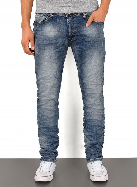 Herren Slim Fit Jeans Knitteroptik