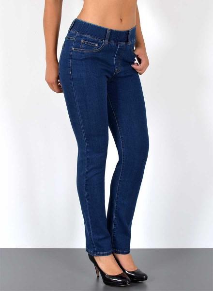 ESRA Damen Straight Fit Jeans mit Gummibund große Größen