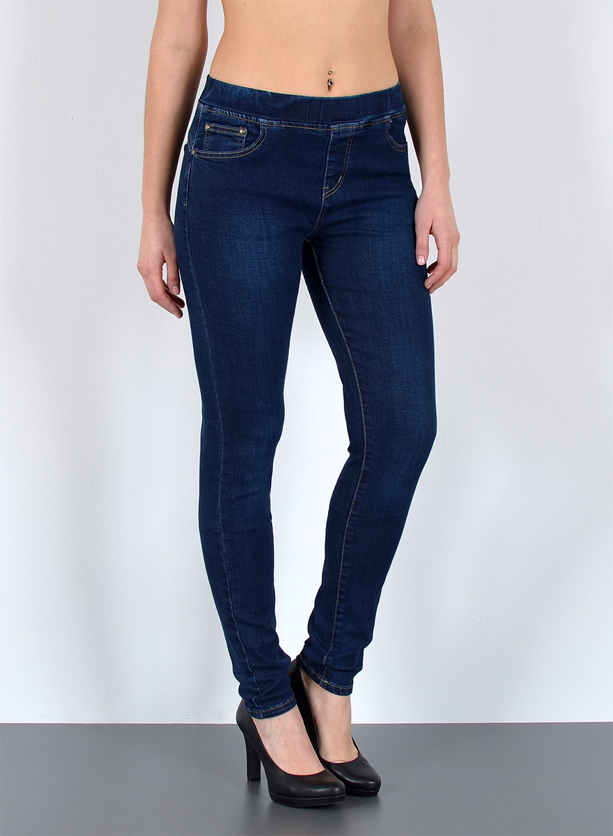 Damen Slim Fit Jeanshose mit Gummibund - Damen Jeans