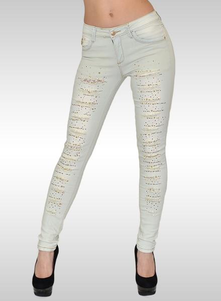 Skinny Damen Jeans mit Risse und Strassapplikationen